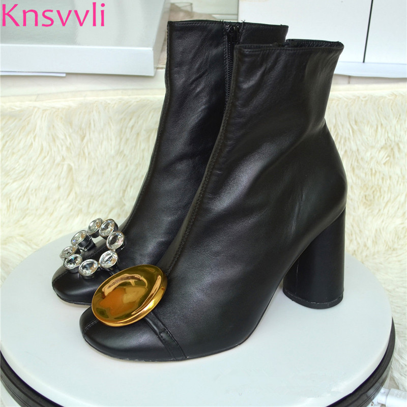 Knsvvli new design metal button decoration ankle boots for women rhinestone buckle round toe chunky heel short boots black casual metal and flat heel design short boots for women