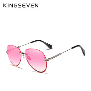 Image 5 - KINGSEVEN 2019 projekt Vintage modne okulary słoneczne bez oprawek kobiet okulary gradientowe szkła marka projektant óculos De Sol Feminino