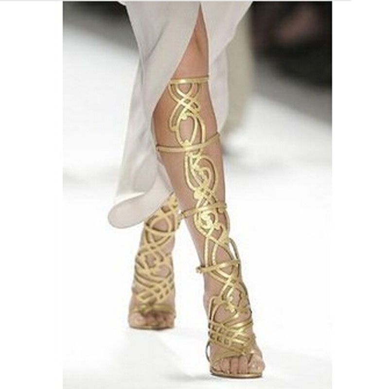 Brand Gold Greek Gladiator Sandals Fashion Native Shoes Woman Summer Cutouts Melissa Knee High Sandals Boots For Sexy Lady