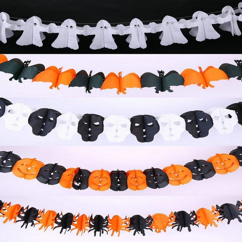 1pcs pumpkin bat ghost spider skull shape paper chain banner garland 3m halloween party decoration holloween supplies on aliexpresscom alibaba group - Halloween Paper Decorations