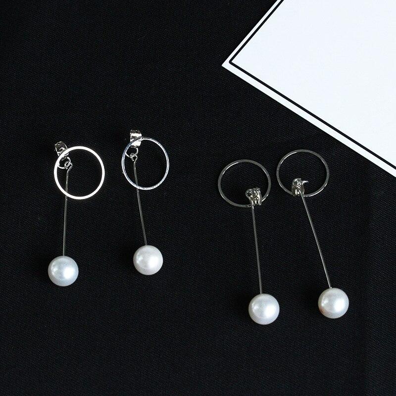Silber Großen Tropfen Ohrringe für Frauen Hoops huggie Ohrringe Kreis orecchini cerchio boucles d'oreille Femme Imitation Perle Earing