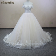 sikedestiny 2018 Beaded A-Line Court Train Wedding Dress