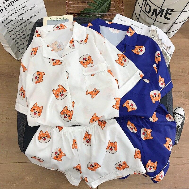 Men Pijamas Pyjamas Kpop Fans Sleepwear Shiba Cartoon Dogs Printed Shirts And Pants Comfy Cotton Homewear Sets Drop Ship