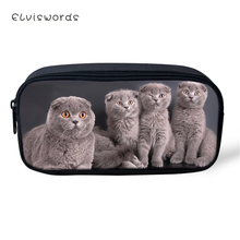 ELVISWORDS Fashion Kids Pencil Case Little Fold Cats Students Stationery Box School Pen Bags Kawaii Pattern Womens Beauticians