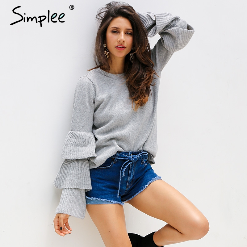 Simplee Knitting ruffles winter sweater women Loose flare sleeve pullover female 2017 Casual party knit pull femme jumper