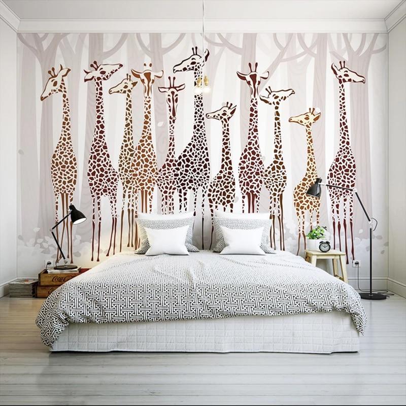 Custom Any Size Mural Wallpaper 3D Giraffe Photo Wall ...