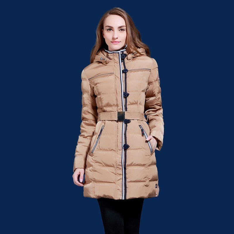 Womens waterproof down jacket White duck down Thicker coat for Europe and Russian cold winter Minus 40 degrees warm jacket Q504