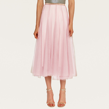 цены на Wasteheart Pink Black Gray Summer Women Skirts Fashion High Waist Mesh A-Line Mid-Calf Long Skirt Clothing Plus Size S M L в интернет-магазинах