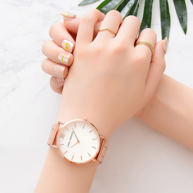 Lvpai Watch Women Fashion Rose Gold Stainless Steel Ladies Watch Luxury Marble Dial Women's Watches reloj mujer relogio feminino