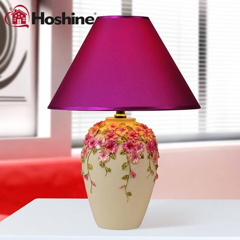 Hoshine Modern Decorative Abajur Purple Flower Led Table Lamps for Living Room Bedside DIY Vase Table Light Cloth E27 CCC CE