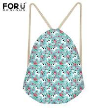 INSTANTARTS 2019 Fashion Bag Borzoi Flower Printing Boys Small Drawstring Bag School Shoulder Backpacks Teen Boys