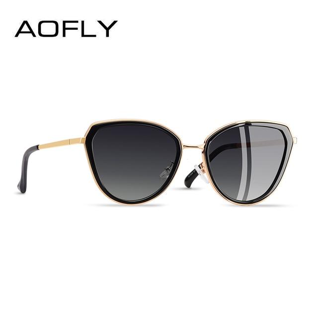 8081930b3 AOFLY Gato Olho Mulheres óculos de Armação Metal Óculos De Sol Feminino  Designer Marca Famosa Liga oculos sol feminino A154