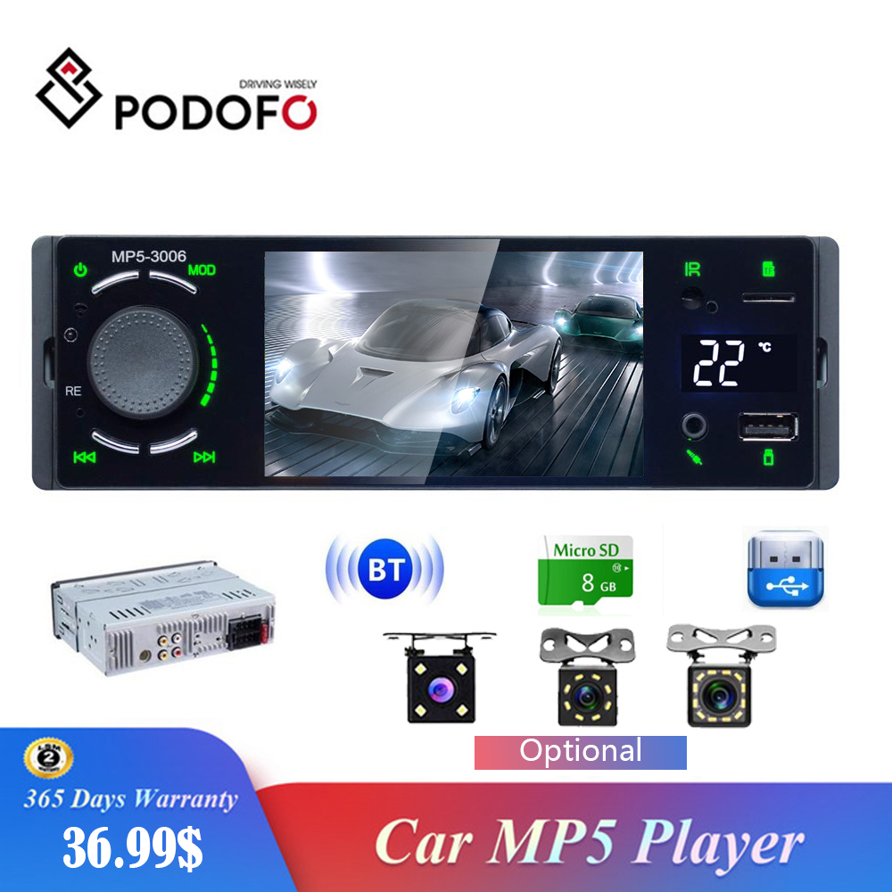 Podofo Autoradio 1Din 4.1 pouces écran tactile lien miroir Radio voiture USB/Bluetooth voiture stéréo multimédia lecteur MP5