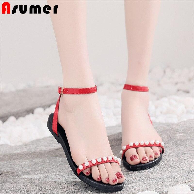 Asumer Più Il Formato 34-43 Nuovi Sandali Delle Donne Di Colore Solido Di Modo Di Estate Fibbia Scarpe Da Donna Casual Scarpe Perla Scarpe Da Sposa Piatto Sandali