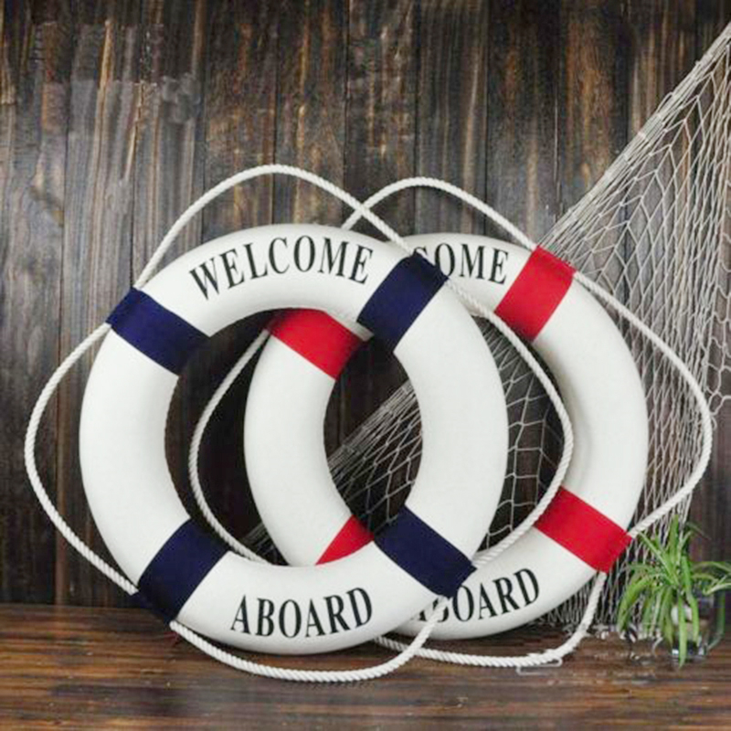 Beach:  Nautical Style Welcome Decorative Life Buoy Home Marine Beach Wall Decoration - Martin's & Co