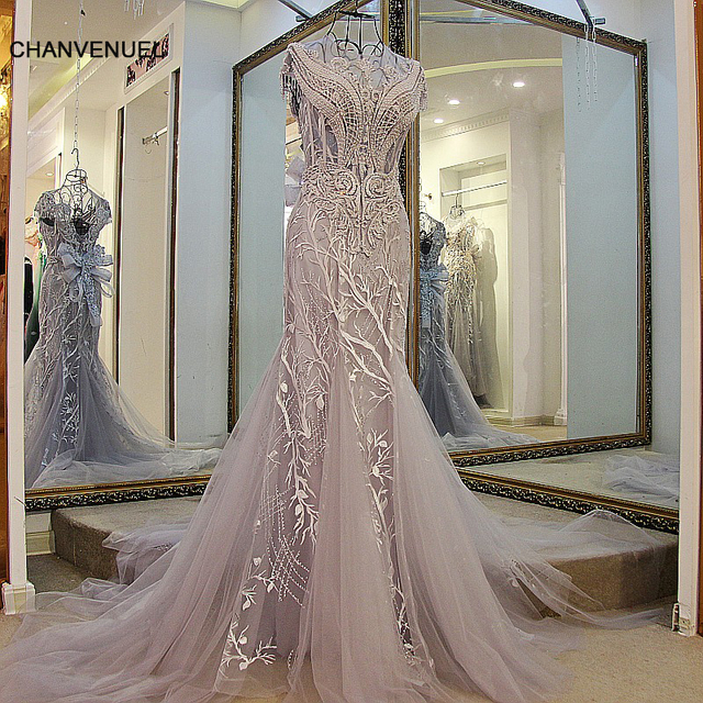 LS01980 Mermaid evening gown lace up back cap sleeves O-Neck beaded formal evening gowns  grey sheath dress real photos hot sell