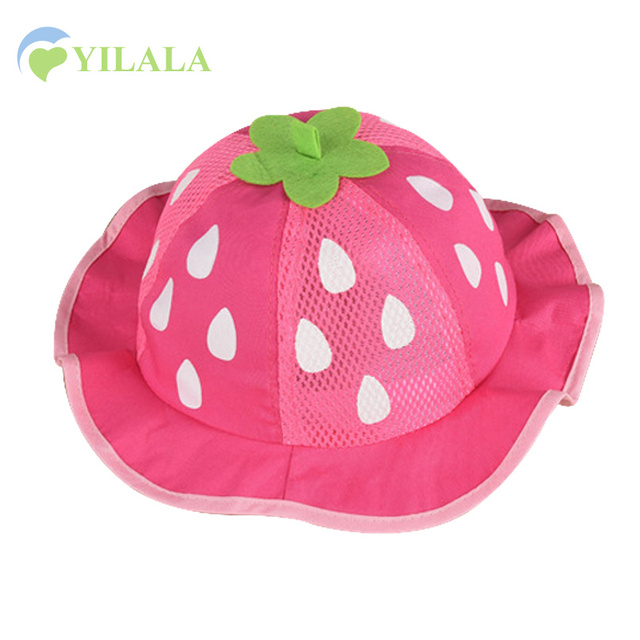 e8fb45f576c Cute Strawberry Girls Hat Fashion Mesh Sun Cap Cotton Solid Baby Hat For Girls  Summer Baby