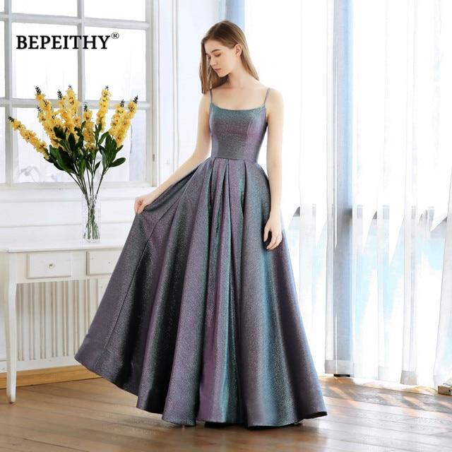 on sale 60922 0ed77 US $98.0 |Abiti Da Cerimonia Da Sera A line Evening Dress Long 2019 Vestido  De Festa Cheap Prom Dress Gown Elegant Glitter Fabric New-in Evening ...