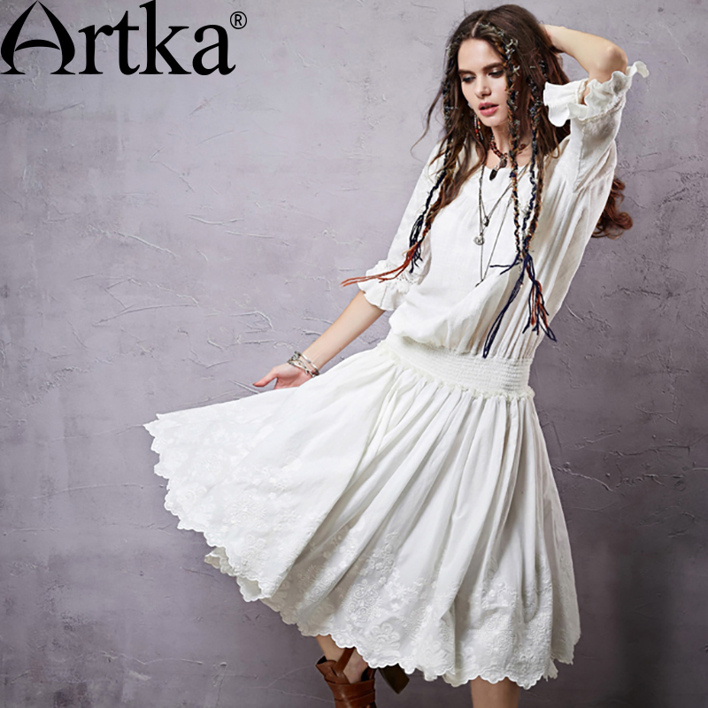 ARTKA Summer Women s Bohemian Dress Embroidery Lace Dress For Women 2018 Cotton White Dress Female