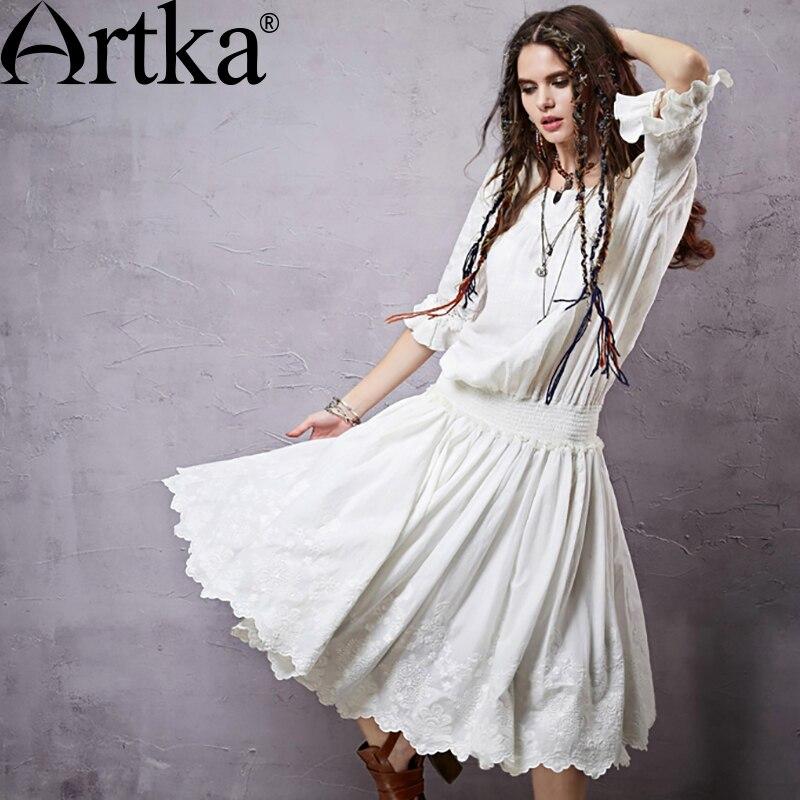 Kadın Giyim'ten Elbiseler'de ARTKA Yaz kadın Bohemian Elbise Nakış Dantel Elbise Kadınlar Için % 2018 Pamuk Beyaz Elbise Kadın Boho Vintage Elbise LA14357X'da  Grup 1