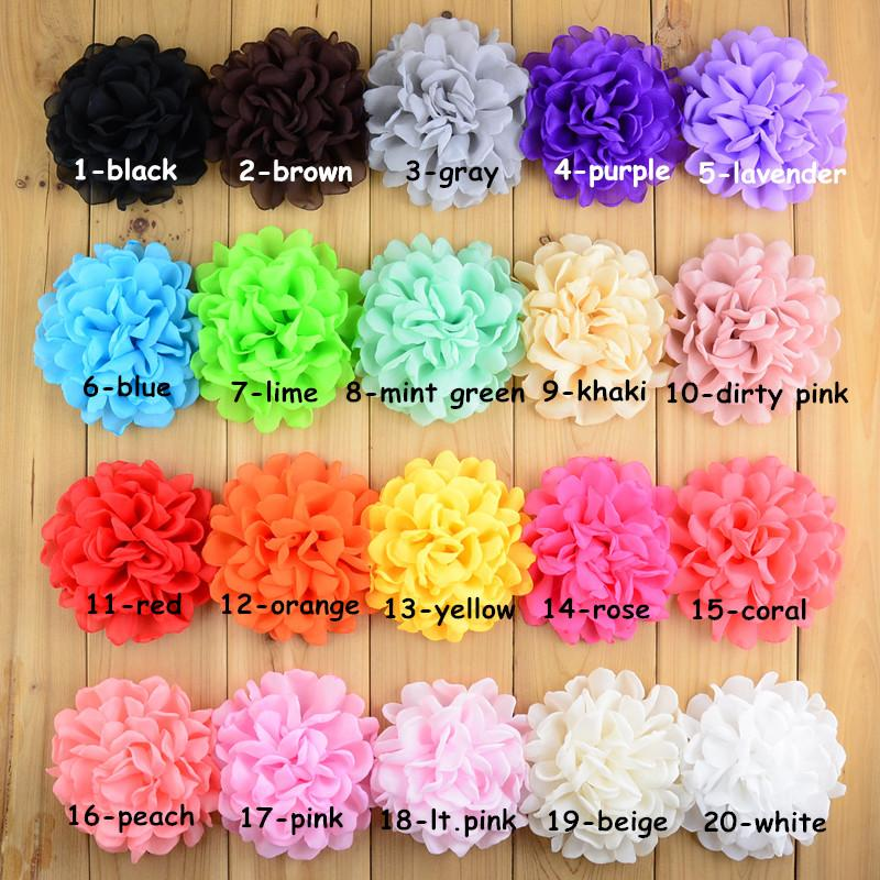 120pcs lot Wholesale 20color U Pick 4 girls Burned Chiffon Fabric Flowers Use In Garment Hair