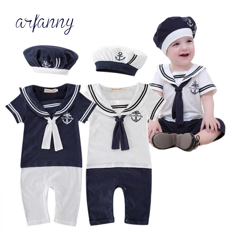 a05f8079dc4 Detail Feedback Questions about baby clothes Sailor Baby Boy Short Rompers  Cool Navy Beret Cap 100%Cotton Infant Clothes Costumes Seaman Jumpsuit  Overall on ...