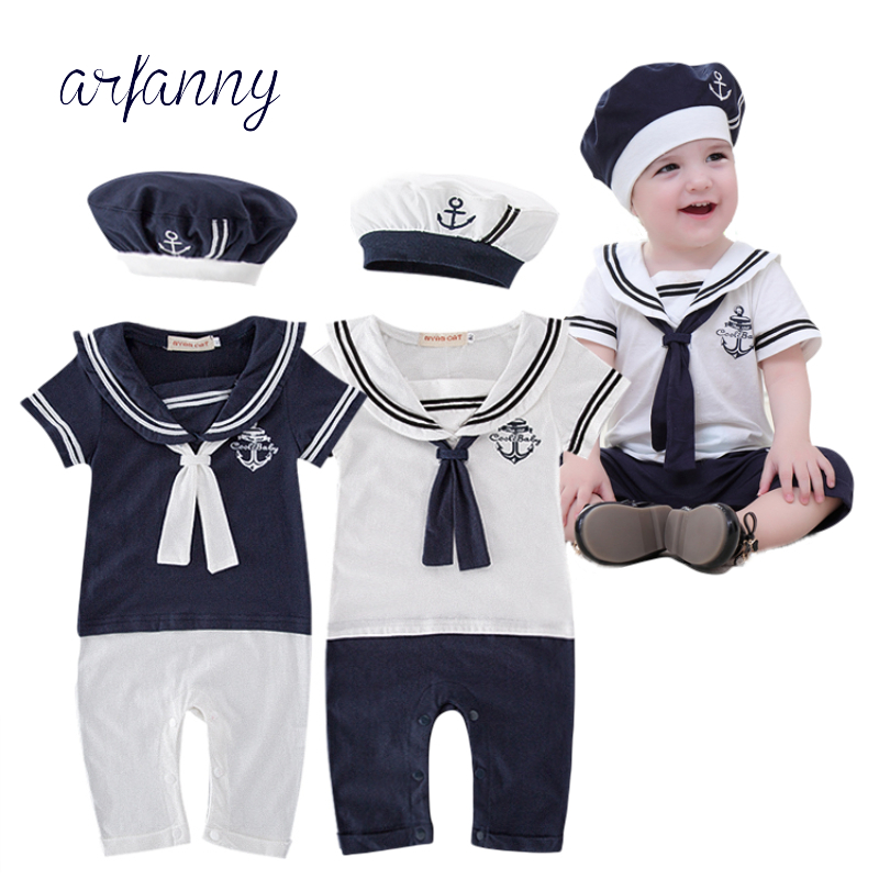 ベビー服セーラーベビーボーイショートロンパースクールネイビーベレー帽綿100%幼児服コスチュームシーマンジャンプスーツ全体的な続きを読む
