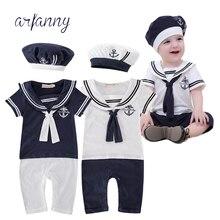 ARFANN summer baby little navy style piecemeal boy costume. Baby body piece + hat