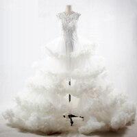 RSW1095 роскошь облако дизайнерские свадебные платья открытая разрез спереди Высокая Низкая свадебное платье 2017 vestidos de noiva свадебное платье