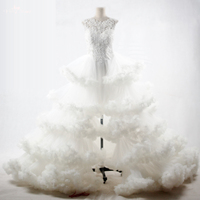 RSW1095 Luxury Cloud Designer Wedding Gowns Open Front Slit High Low Wedding Dress 2017 Vestidos De