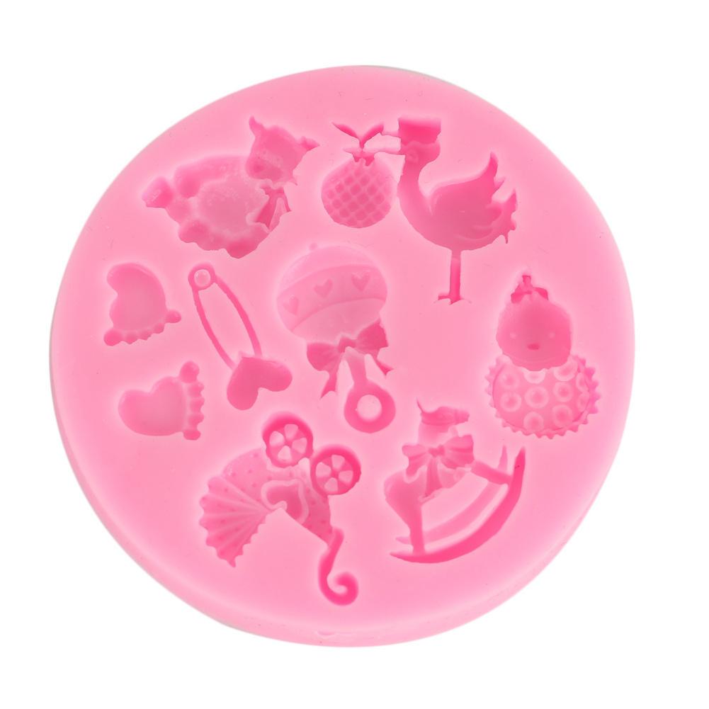 DGI MART Mini Baby Shower Fondant Mold Silicone Sugar Mold ...