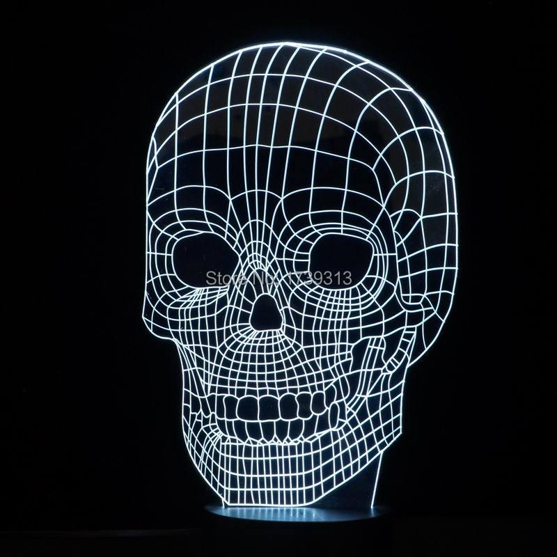 удивительные 3d иллюзия череп светодиодная настольная лампа с