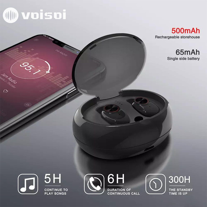 <font><b>V5</b></font> <font><b>TWS</b></font> Earphone Bluetooth 5.0 Wireless Headphone Stereo Built-in Microphone Hands-free Calling Mini Earbuds Bluetooth Headset image