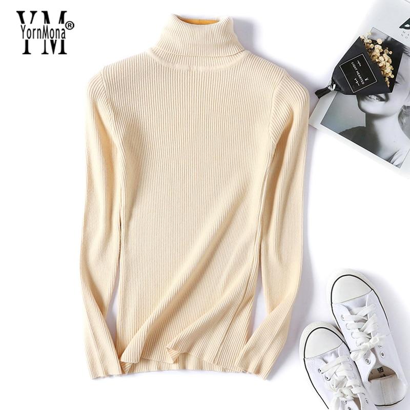 YornMona Soft Skinny Turtleneck Sweater Women 2019 New Basic Korean Style Pullover Winter Tops High Quality Women Sweater Tricot 1