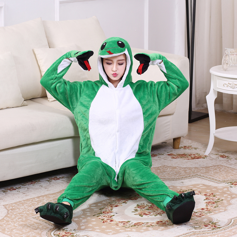 Funny Soft Green Snake Flannel Unisex Adult Pajamas Kigurumi Cosplay Costume Animal Onesie Sleepwear For Halloween Cosplay (6)