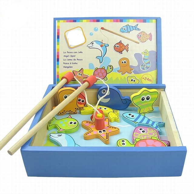 Magnetic Wooden Kitten Fishing Platter Board Puzzle Baby Early Educational Toy Children Fishing Toys