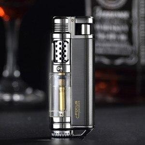 Image 2 - Encendedor de butano Visible para ventana, encendedor Turbo a prueba de fuego, pistola pulverizadora portátil de Metal, pipa cigarro, encendedor 1300 C sin Gas