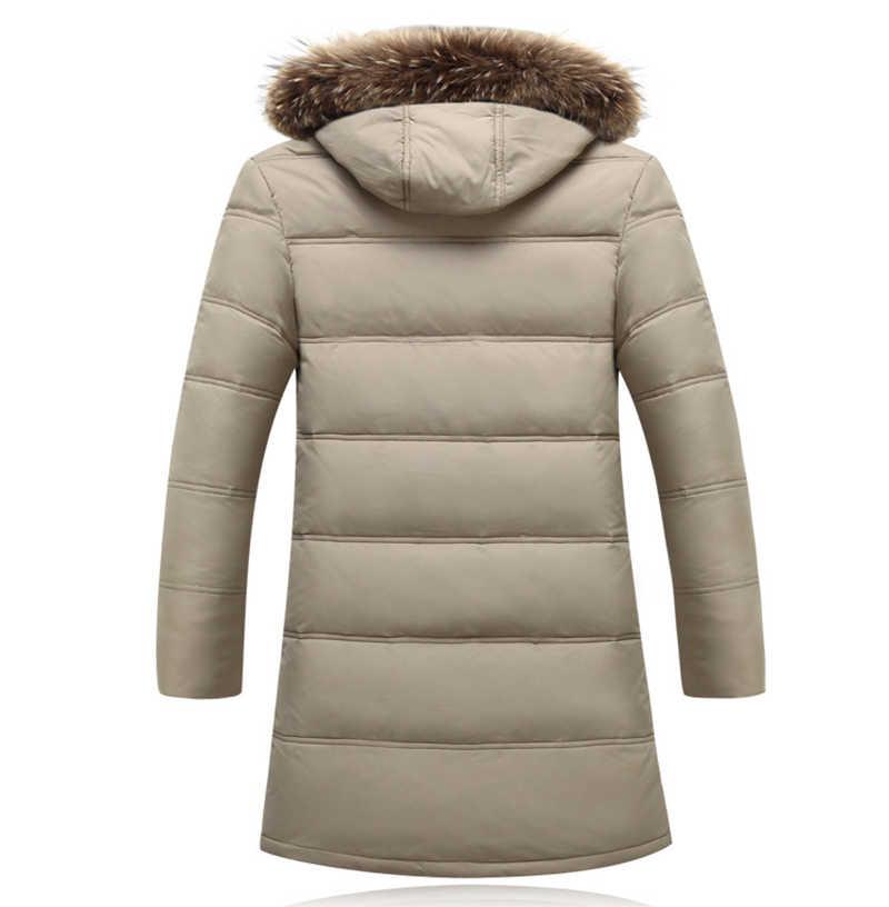2020 חדש גברים ארוך לבן למטה מעיל עם ברדס פרווה בתוספת גודל מעיילי באיכות גבוהה מותג זכר חם חורף מעיל 4XL ZZ089