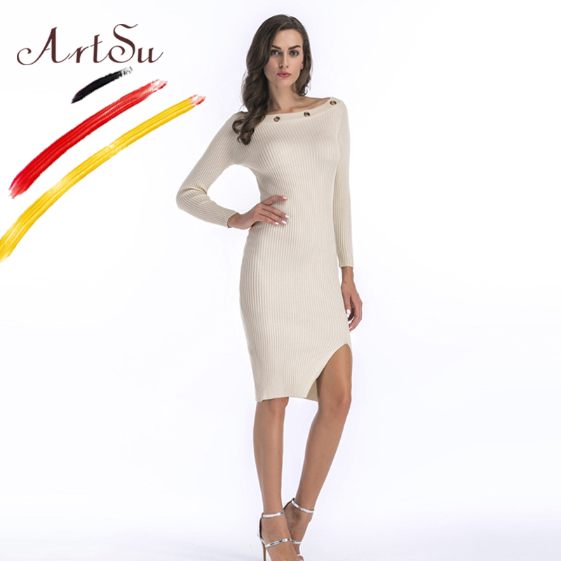 ArtSu Casual Long Sleeve Knitted Sweater Dress Sexy Split Side Skinny Bodycon Pencil Dress Cotton Slash Neck Winter Dress Robe цена и фото