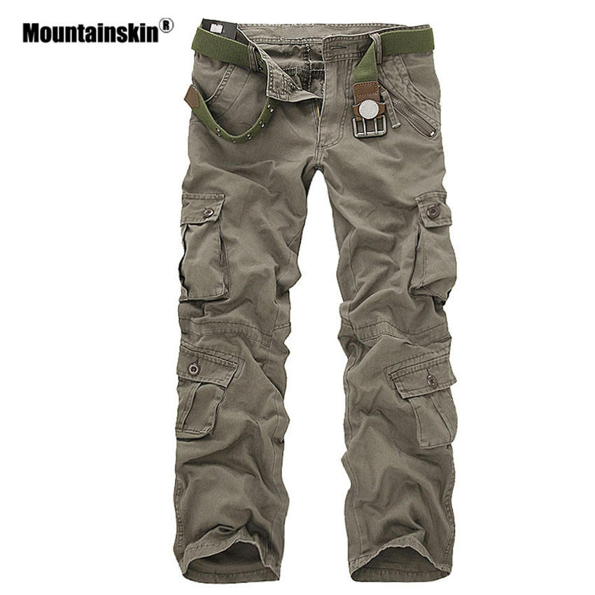 Mountainskin Men's Military Multi-pockets Pants Outdoor Tactical Loose Trousers Hiking Camping Fishing Climbing Brand VA271 цена 2017