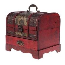 Handgemaakte Houten Vintage Chinese Sieraden Doos Met Slot Aziatische Home Decoratieve Ring Ketting Trinket Organizer Case 22x16cm