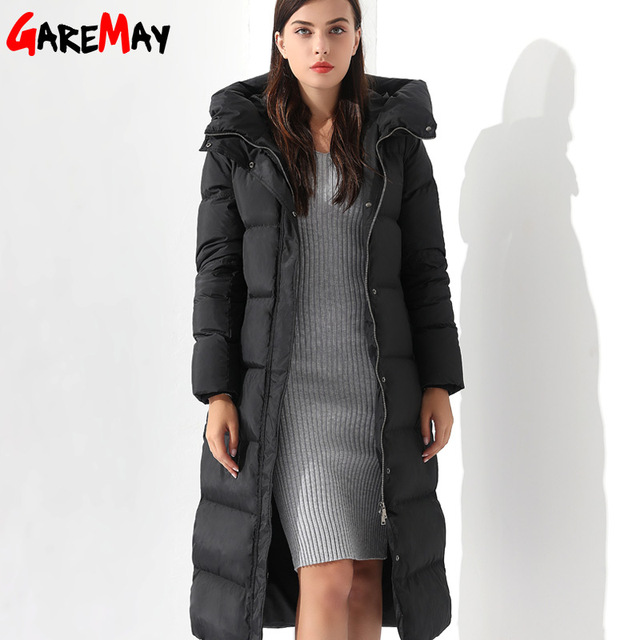 2ae063b3c08 US $88.82 40% OFF|Down Parka Womens Long Down Jackets Winter Doudoune Femme  Coats For Women Outwear Female Long Hooded Coat Feather Parka GAREMAY-in ...