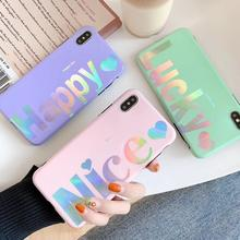 Blue Laser TPU Soft Case For iPhone 6 6s 7 8 Plus Sweet Letter Pattern Protective Cover For iPhone XS XMAX X XR Capa For Female стоимость