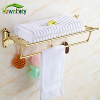 Euro Style Stainless Steel Bath Folding Towel Shelf With Towel Bar Hook