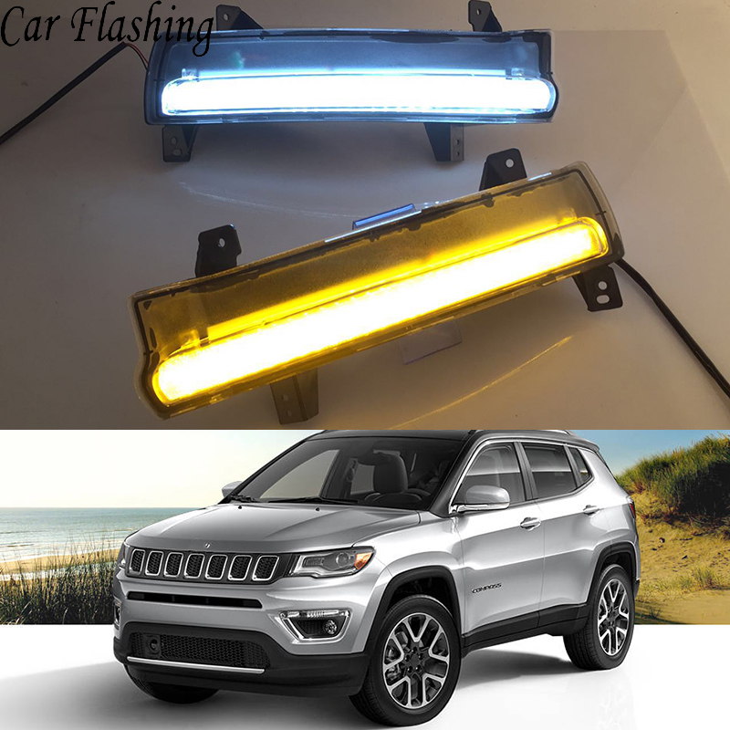Car Flashing 2 Pcs 12V LED Car DRL daytime running light fog lamp For Jeep Compass