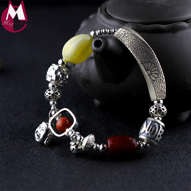 DIY Big Natural Amber Beads 925 Sterling Silver Bracelet Fine Foot Buddhism Lotus Carving Plant Hollow Flower Luxury Gem Jewelry
