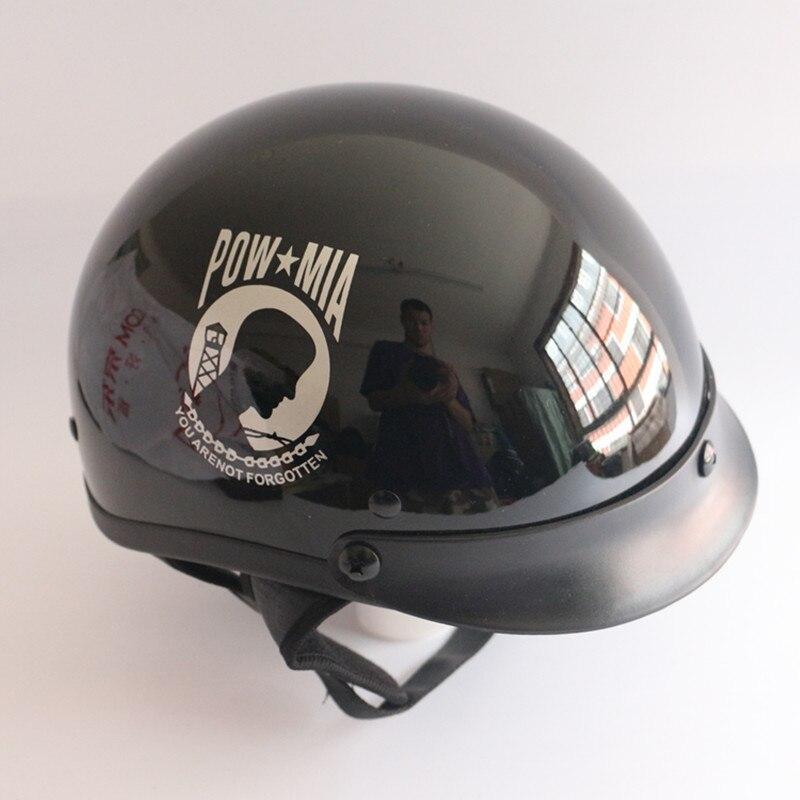 buy pow mia half face motorcycle helmet vintage jet moto helmets harley open face retro cruiser chopper motorbike helmet dot from - Pow Mia Hat