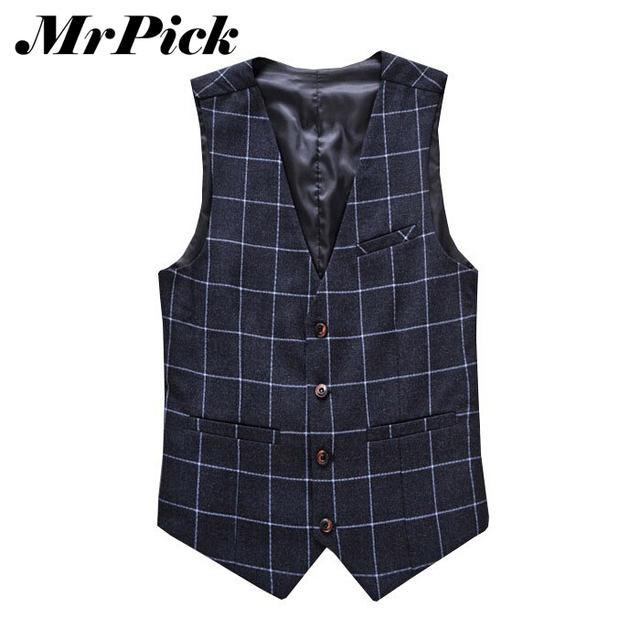 Мужчины однобортный деловые v-образным вырезом наделяет 2015 новых плед мода платье тонкий жилеты E1645-Euro
