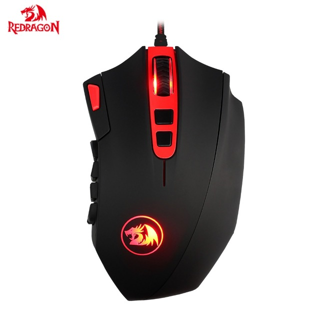 Redragon M901 Programmable MMO Gaming Mouse High Precision 24000 DPI 18 Buttons Big Laser Gamer Mice with LED Backlit for LOL PC