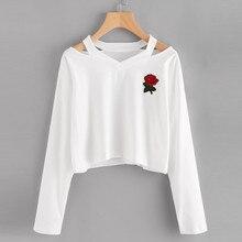 Fashion Autumn Winter Womens Long Sleeve Off Shoulder Sweatshirt Rose Print Causal Tops Blusa V Neck Jumper Pullover sweatshirt